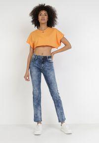 Born2be - Niebieskie Jeansy Regular Nariwai. Okazja: na co dzień. Kolor: niebieski. Długość: długie. Wzór: aplikacja. Styl: casual