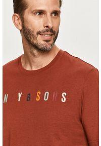 Brązowy t-shirt Only & Sons z okrągłym kołnierzem, z aplikacjami, casualowy, na co dzień