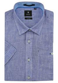 Rey Jay - Niebieska Lniana Koszula z Krótkim Rękawem -REY JAY- w Drobną Kratkę. Kolor: niebieski. Materiał: len. Długość rękawa: krótki rękaw. Długość: krótkie. Wzór: kratka