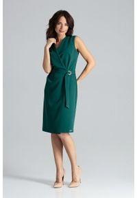 e-margeritka - Sukienka kopertowa elegancka zielona - xl. Okazja: do pracy. Kolor: zielony. Materiał: poliester, wiskoza, materiał. Długość rękawa: bez rękawów. Typ sukienki: kopertowe. Styl: elegancki. Długość: midi