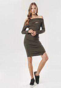 Born2be - Khaki Sukienka Diomala. Okazja: na imprezę. Kolor: brązowy. Typ sukienki: asymetryczne, dopasowane. Długość: midi