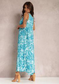 Renee - Niebieska Sukienka Fumezi. Kolor: niebieski. Materiał: tkanina. Długość rękawa: na ramiączkach. Wzór: aplikacja. Styl: klasyczny. Długość: maxi