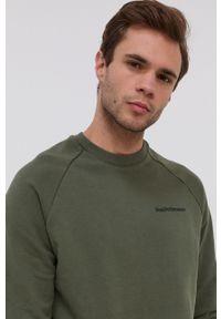 Peak Performance - Bluza bawełniana. Okazja: na co dzień. Kolor: zielony. Materiał: bawełna. Długość rękawa: raglanowy rękaw. Wzór: aplikacja. Styl: casual