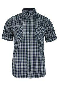 ForMax - Koszula Bawełniana, Granatowo-Zielona z Krótkim Rękawem, z Kieszonkami, w Kratkę Slim -FORMAX. Okazja: na co dzień. Kolor: niebieski. Materiał: bawełna. Długość rękawa: krótki rękaw. Długość: krótkie. Wzór: kratka. Styl: casual