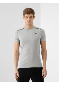 Szara koszulka sportowa 4f na fitness i siłownię