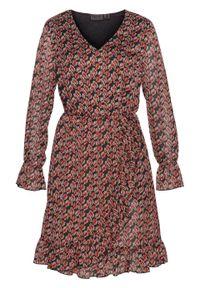 Sukienka bonprix czarno-brązowy z nadrukiem. Kolor: czarny. Wzór: nadruk