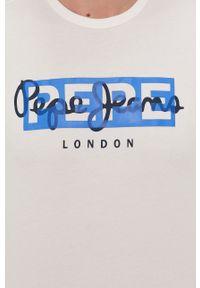 Pepe Jeans - T-shirt Godric. Okazja: na co dzień. Kolor: biały. Wzór: nadruk. Styl: casual