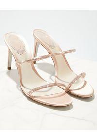 RENE CAOVILLA - Beżowe sandały na szpilce Bessie. Zapięcie: pasek. Kolor: beżowy. Materiał: jedwab, satyna. Wzór: paski. Obcas: na szpilce. Wysokość obcasa: średni #3