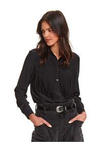 TOP SECRET - Koszula damska z frędzlami. Kolor: czarny. Długość rękawa: długi rękaw. Długość: długie. Sezon: zima
