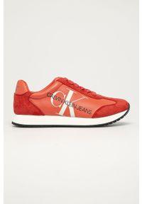Czerwone buty sportowe Calvin Klein Jeans na sznurówki, z cholewką