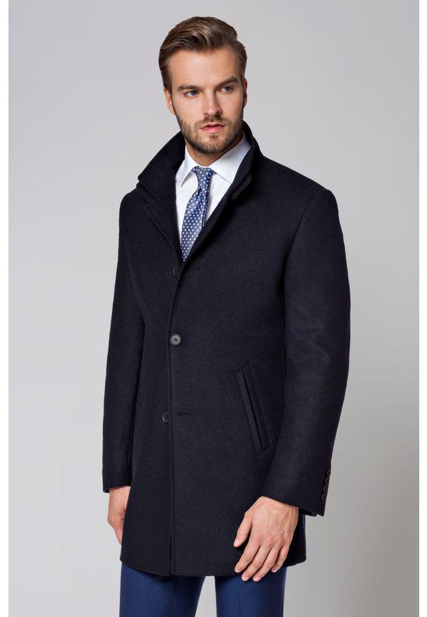 Niebieski płaszcz Lancerto ze stójką, klasyczny
