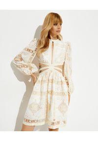 ZIMMERMANN - Biała sukienka Aliane. Typ kołnierza: dekolt gorset. Kolor: biały. Materiał: bawełna. Typ sukienki: gorsetowe, dopasowane. Długość: mini