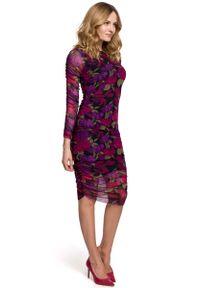 MOE - Ołówkowa Sukienka z Drukowanej Koronki - Model 2. Materiał: koronka. Wzór: koronka. Typ sukienki: ołówkowe
