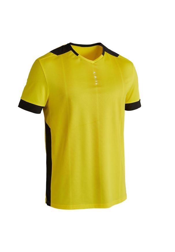 KIPSTA - Koszulka krótki rękaw do piłki nożnej F500. Kolor: wielokolorowy, żółty, czarny. Materiał: materiał, poliester. Długość rękawa: krótki rękaw. Długość: krótkie. Sport: bieganie, piłka nożna