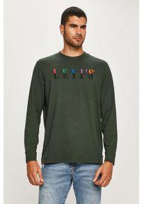 Zielona koszulka z długim rękawem Levi's® na co dzień, casualowa, z okrągłym kołnierzem