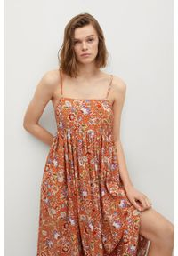 mango - Mango - Sukienka CECI. Kolor: pomarańczowy. Materiał: włókno, tkanina, materiał. Długość rękawa: na ramiączkach. Typ sukienki: rozkloszowane