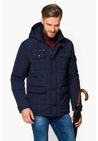Niebieska kurtka Lancerto w kolorowe wzory, na jesień, z golfem, do pracy