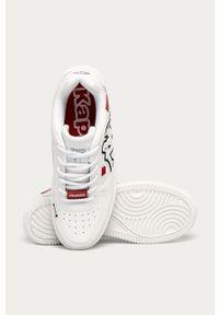 Białe sneakersy Kappa z okrągłym noskiem, na sznurówki, z cholewką