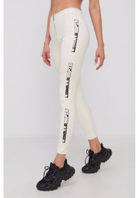 LABELLAMAFIA - LaBellaMafia - Spodnie. Kolor: beżowy. Materiał: skóra. Wzór: nadruk