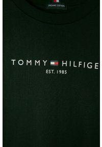 Czarny t-shirt TOMMY HILFIGER z nadrukiem, casualowy, na co dzień