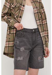 Noisy may - Noisy May - Szorty jeansowe. Okazja: na co dzień. Kolor: szary. Materiał: jeans. Styl: casual