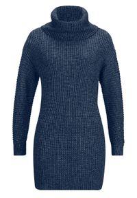 Niebieski sweter bonprix melanż, z golfem