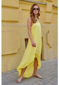 Makadamia - Długa Asymetryczna Sukienka na Ramiączkach - Żółta. Kolor: żółty. Materiał: wiskoza. Długość rękawa: na ramiączkach. Typ sukienki: asymetryczne. Długość: maxi