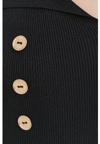 Elisabetta Franchi - Sukienka. Kolor: czarny. Materiał: dzianina. Długość rękawa: długi rękaw. Wzór: gładki. Typ sukienki: dopasowane