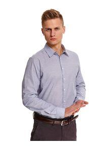 TOP SECRET - Koszula z tkaniny oxford taliowana. Kolor: szary. Materiał: tkanina. Długość: długie. Wzór: aplikacja. Sezon: zima. Styl: wizytowy, elegancki