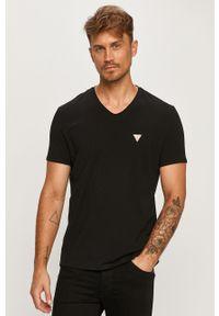 Czarny t-shirt Guess Jeans casualowy, z aplikacjami, na co dzień
