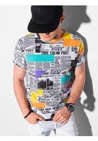 Ombre Clothing - T-shirt męski z nadrukiem S1409 - biały - XXL. Kolor: biały. Materiał: poliester, bawełna. Wzór: nadruk. Sezon: wiosna, lato