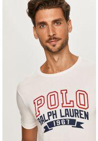 Biały t-shirt Polo Ralph Lauren z okrągłym kołnierzem, casualowy, z nadrukiem