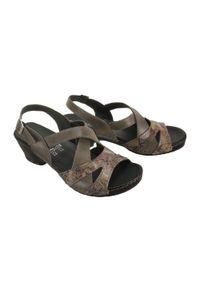 Comfortabel - COMFORTABEL 710931-9 cloudy, sandały damskie. Zapięcie: rzepy. Kolor: szary. Materiał: skóra, guma. Obcas: na obcasie. Wysokość obcasa: średni