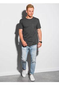 Ombre Clothing - T-shirt męski bawełniany S1384 - grafitowy - XXL. Kolor: szary. Materiał: bawełna. Długość: długie. Styl: sportowy, klasyczny