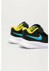 Czarne buty sportowe Nike Kids na rzepy, z okrągłym noskiem, z cholewką