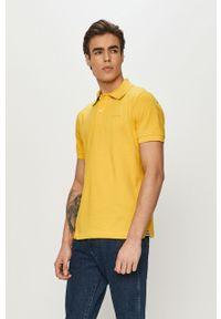 Żółta koszulka polo Geox krótka, na co dzień, gładkie