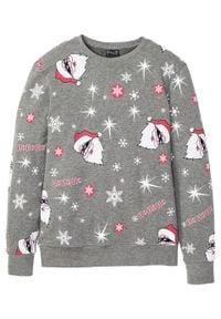 Bluza z bożonarodzeniowym nadrukiem bonprix szary melanż z nadrukiem. Kolor: szary. Wzór: melanż, nadruk