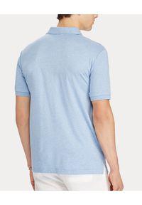 Ralph Lauren - RALPH LAUREN - Niebieska koszulka Slim Fit Soft. Okazja: na co dzień. Typ kołnierza: polo. Kolor: niebieski. Materiał: bawełna, prążkowany. Wzór: kolorowy, haft, melanż. Styl: casual #3