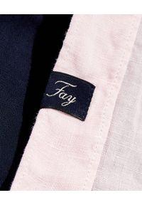 FAY - Różowa koszula z lnu. Kolor: różowy, fioletowy, wielokolorowy. Materiał: len. Długość rękawa: długi rękaw. Długość: długie