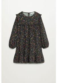 Czarna sukienka Mango Kids mini, w kwiaty