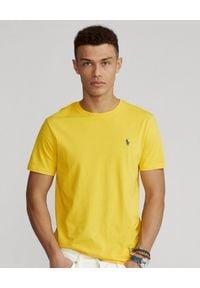Ralph Lauren - RALPH LAUREN - Żółty t-shirt Custom Slim Fit. Typ kołnierza: polo. Kolor: żółty. Materiał: bawełna. Wzór: haft
