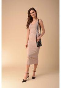 Beżowa sukienka wizytowa Nommo na ramiączkach, ołówkowa