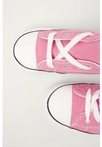 Różowe trampki Converse z cholewką, na sznurówki, z okrągłym noskiem