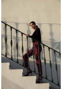 Spodnie z wysokim stanem MOE eleganckie, w kwiaty