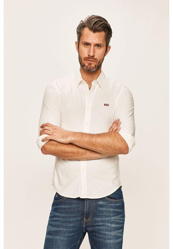 Biała koszula Levi's® biznesowa, w kolorowe wzory, długa, na spotkanie biznesowe