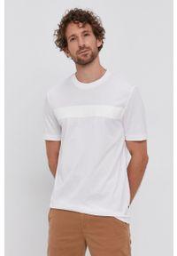 BOSS - Boss - T-shirt. Kolor: biały. Materiał: dzianina, materiał. Wzór: nadruk