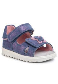 Fioletowe sandały Superfit z aplikacjami, na lato