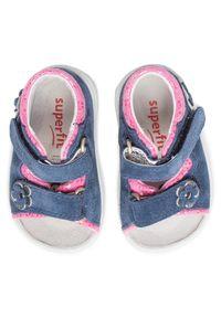 Niebieskie sandały Superfit na co dzień, z aplikacjami, casualowe