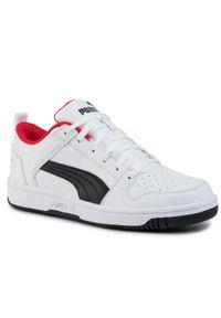 Puma - Sneakersy PUMA - Rebound Layup Lo Sl 369866 01 White/Black/High Risk Red. Okazja: na co dzień. Kolor: biały. Materiał: skóra, skóra ekologiczna. Szerokość cholewki: normalna. Styl: sportowy, casual