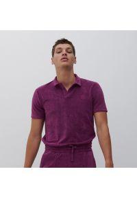 Reserved - Koszulka polo z dzianiną z bawełny organicznej - Fioletowy. Typ kołnierza: polo. Kolor: fioletowy. Materiał: bawełna, dzianina
